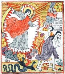 Корень В. Изгнание из рая. Лист из Библии. 1696