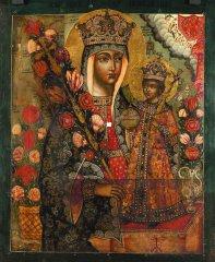 Богоматерь Неувядаемый Цвет. Конец XVII века. Дерево, иконный щит без ковчега, левкас, темпера. 54,2 х 43,2 х 3