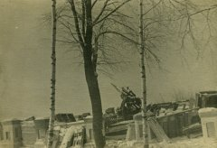 Смотровая площадка в Парке культуры. Видна оставленная немцами при отступлении зенитка FLAK 8,8 см. Фото зимы 1941-1942 гг.