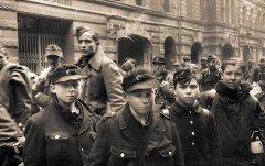 Пленные солдаты фольксштурма на улице Берлина. 1945 г. РГАСПИ. Ф. 71. Оп. 22. Д. 572.